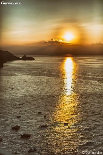 Amalfi Kıyıları nerede ne yenir, positanodan gün batımı italya