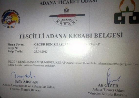 Tescilli Adana Kebabı Belgesi