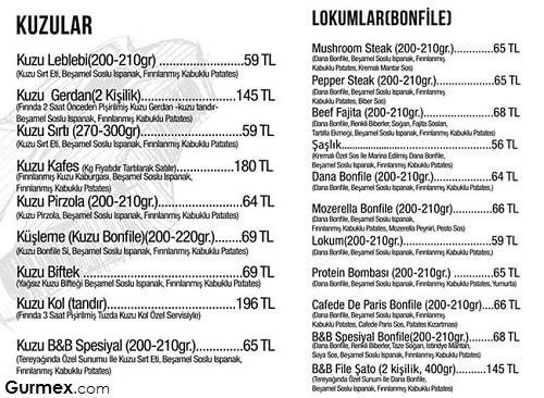 Beş Bıçak Steakhouse menü fiyatları