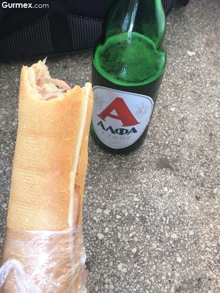 Meis Adası Kastellorizo prosciutto sandviç bira