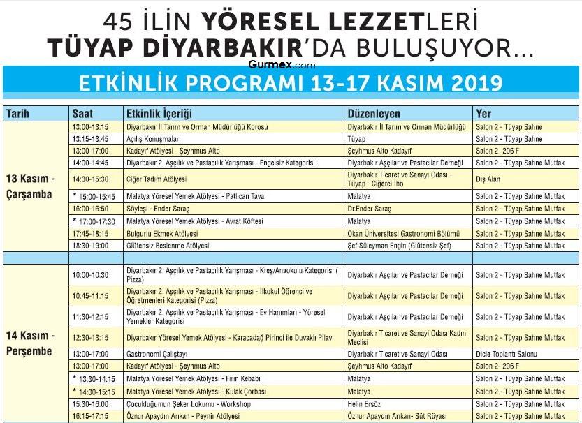 Diyarbakır Gıda ve Yöresel Lezzetler Fuarı program